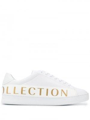 Кеды на шнуровке с логотипом Versace Collection. Цвет: белый
