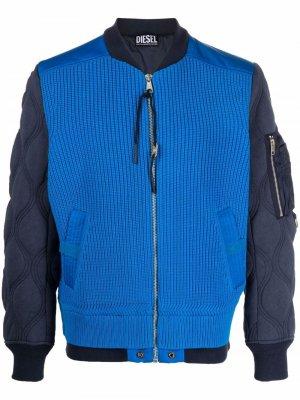 Knitted-panel bomber jacket Diesel. Цвет: синий