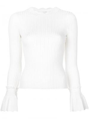 Пуловер с волнистыми краями Jonathan Simkhai. Цвет: белый