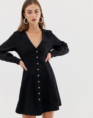Черное джинсовое чайное платье на пуговицах с длинными рукавами -Синий ASOS DESIGN