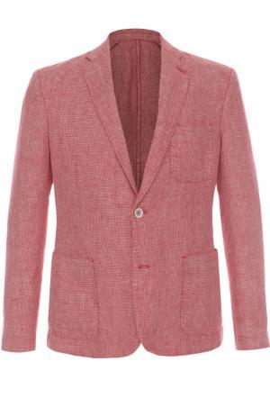 Однобортный льняной пиджак 120% Lino. Цвет: красный