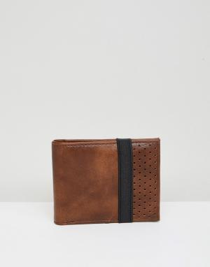 Светло-коричневый бумажник с эластичным ремешком New Look. Цвет: рыжий
