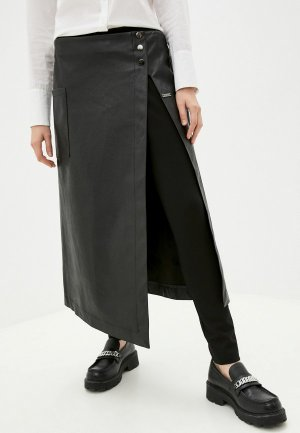 Брюки и юбка Helmidge кожаная. Цвет: черный
