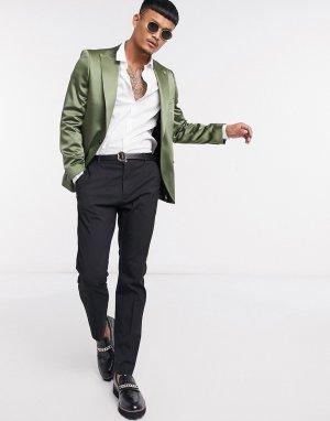 Атласный пиджак цвета хаки -Зеленый Twisted Tailor