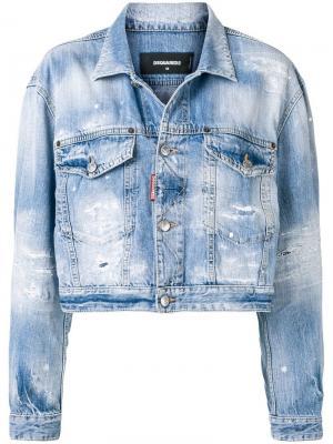 Укороченная джинсовая куртка с состаренным эффектом Dsquared2