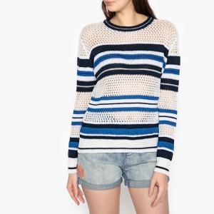 Пуловер в полоску с круглым воротником из тонкой ажурной ткани ISA BERENICE. Цвет: белый/ синий