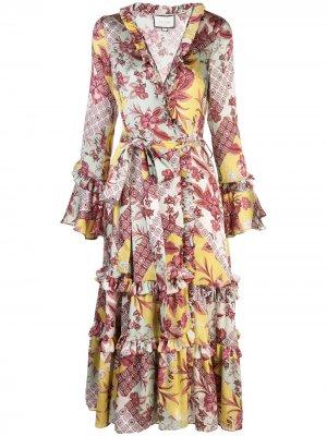 Платье Wiera с оборками Alexis. Цвет: фиолетовый