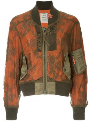 Кружевная куртка-бомбер Maison Mihara Yasuhiro. Цвет: оранжевый