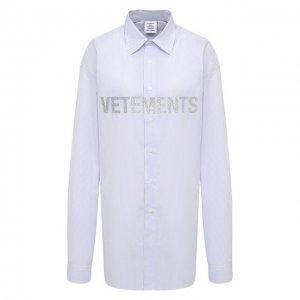 Хлопковая рубашка VETEMENTS. Цвет: синий