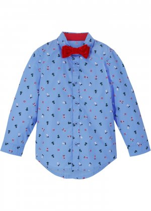 Рубашка с бабочкой (2 изд.) bonprix. Цвет: синий
