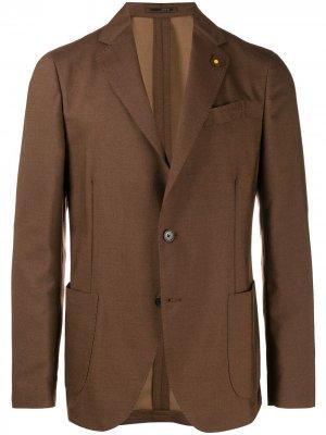 Блейзер узкого кроя Lardini. Цвет: коричневый