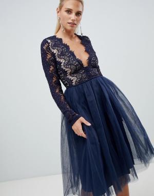 Платье с кружевным топом и длинными рукавами London Rare