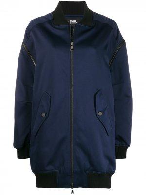 Длинная куртка-бомбер на молнии Karl Lagerfeld. Цвет: синий