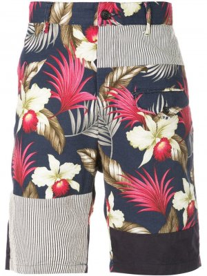 Шорты с цветочным принтом Engineered Garments. Цвет: синий