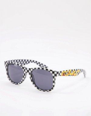 Черные солнцезащитные очки в оправе шахматную клетку с огнем Spicoli 4 Flame Checkerboard-Черный цвет Vans