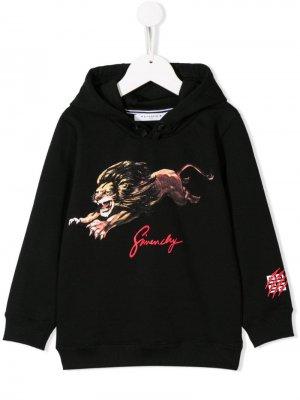 Толстовка с капюшоном и логотипом Givenchy Kids. Цвет: черный