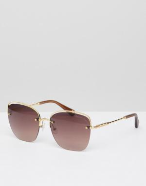 Золотистые солнцезащитные очки кошачий глаз Christian Lacroix La Croix. Цвет: золотой