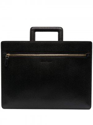 Сумка для ноутбука с тисненым логотипом Salvatore Ferragamo. Цвет: черный