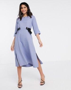 Платье миди лавандового цвета с завязками -Фиолетовый Closet London