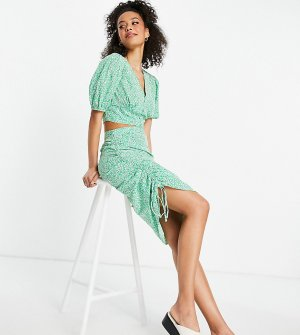 Юбка миди от комплекта с мелким цветочным принтом и сборками по бокам -Зеленый цвет Influence Tall