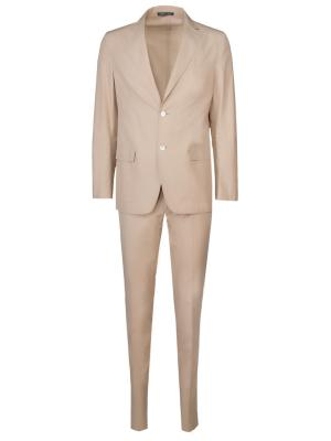 Классический костюм Salvatore Ferragamo. Цвет: бежевый