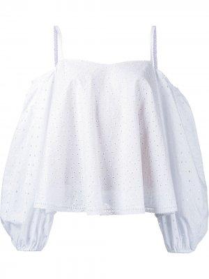 Блузка с открытыми плечами Anna October. Цвет: белый