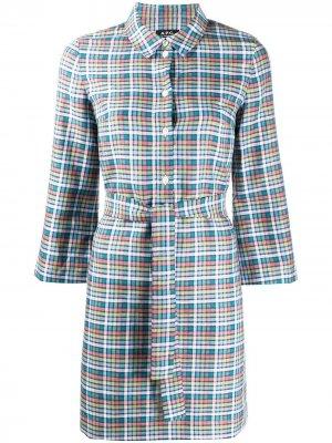 Платье-рубашка Alie в клетку A.P.C.. Цвет: синий