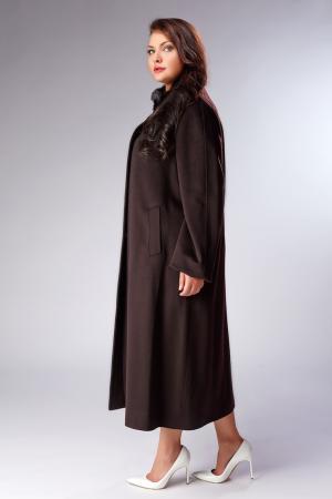 Коричневое пальто прямого кроя на большой размер Heresis. Цвет: коричневый