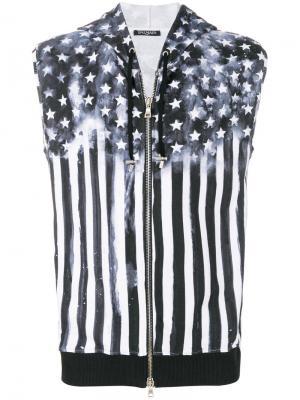 Жилет с капюшоном и принтом Американского флага Balmain. Цвет: черный