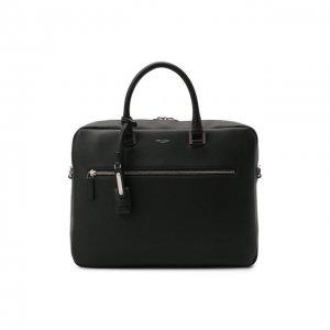 Кожаная сумка для ноутбука Sac de Jour Saint Laurent. Цвет: чёрный