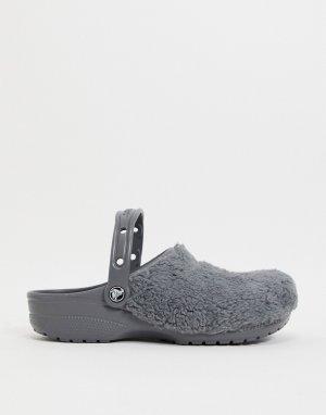 Серые меховые клоги Originals-Серый Crocs