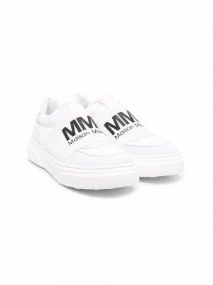 TEEN logo-print slip-on sneakers MM6 KIDS. Цвет: белый