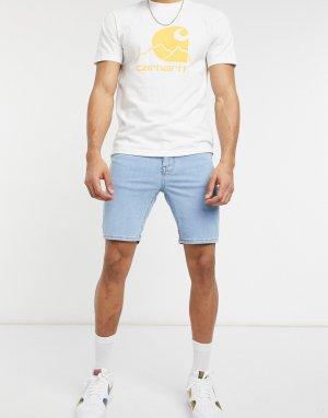 Голубые эластичные джинсовые шорты с напылением -Голубой ASOS DESIGN