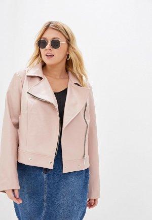 Куртка кожаная Авантюра Plus Size Fashion. Цвет: розовый