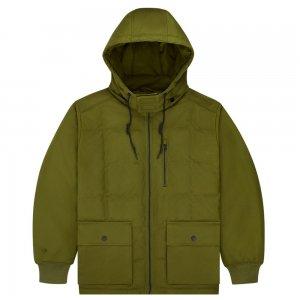 Down Mid Length Coated Canvas Hooded Jacket Converse. Цвет: зелёный