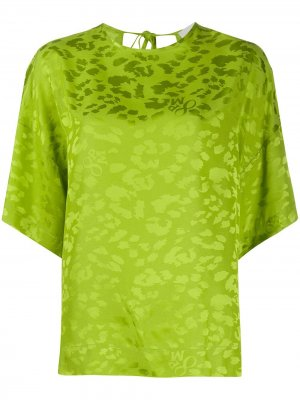 Блузка с леопардовым принтом и завязками 8pm. Цвет: зеленый