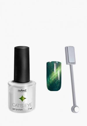 Набор для ухода за ногтями Runail Professional магнит и Гель-лак Cat's eye золотистый блик, цвет: Лесная кошка. Цвет: зеленый