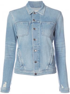 Джинсовая куртка с эффектом потертости Lagence L'agence. Цвет: синий