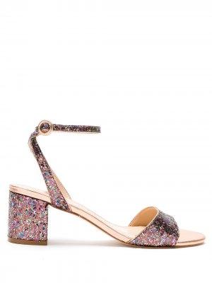 Босоножки с блестками на блочном каблуке Eva. Цвет: золотистый