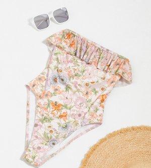 Слитный купальник с оборками и цветочным принтом -Мульти ASOS Petite