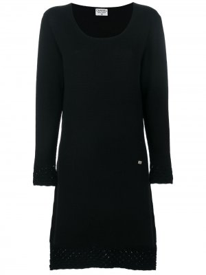 Вязаное платье с узором Chanel Pre-Owned. Цвет: черный