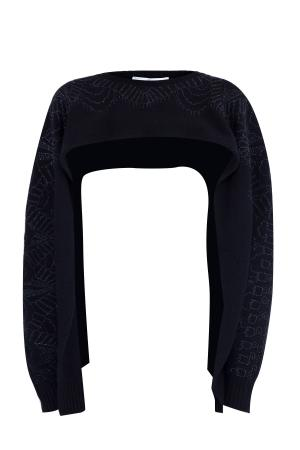 Накидка из кашемира с вышивкой бисером ручной работы VALENTINO. Цвет: черный