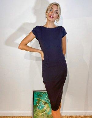 Платье-футляр темно-синего цвета с присборенными короткими рукавами -Темно-синий Closet London