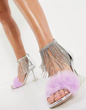 Серебристые босоножки на каблуке с отделкой из искусственного меха Jaimie-Серебристый Jeffrey Campbell