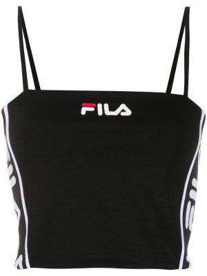 Топ с логотипом Fila. Цвет: черный