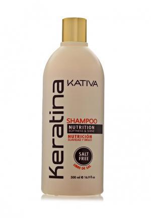 Шампунь Kativa Кератиновый укрепляющий для всех типов волос 500 мл. Цвет: белый