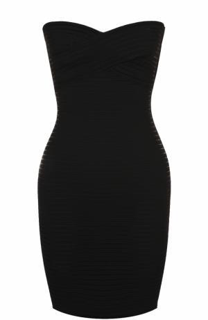Платье-бюстье фактурной вязки Herve L.Leroux. Цвет: черный