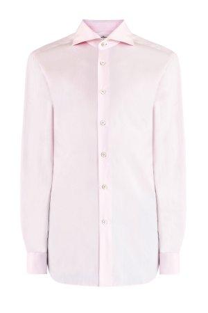 Однотонная рубашка в классическом стиле из хлопка KITON. Цвет: розовый