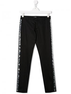 Классические брюки с боковыми вставками Balmain Kids. Цвет: черный