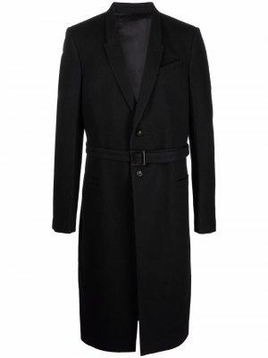 Long belted cotton-blend coat Rick Owens. Цвет: черный